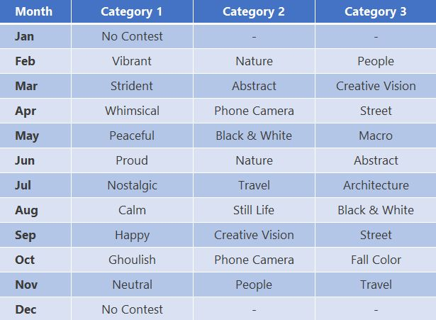2019 Categories