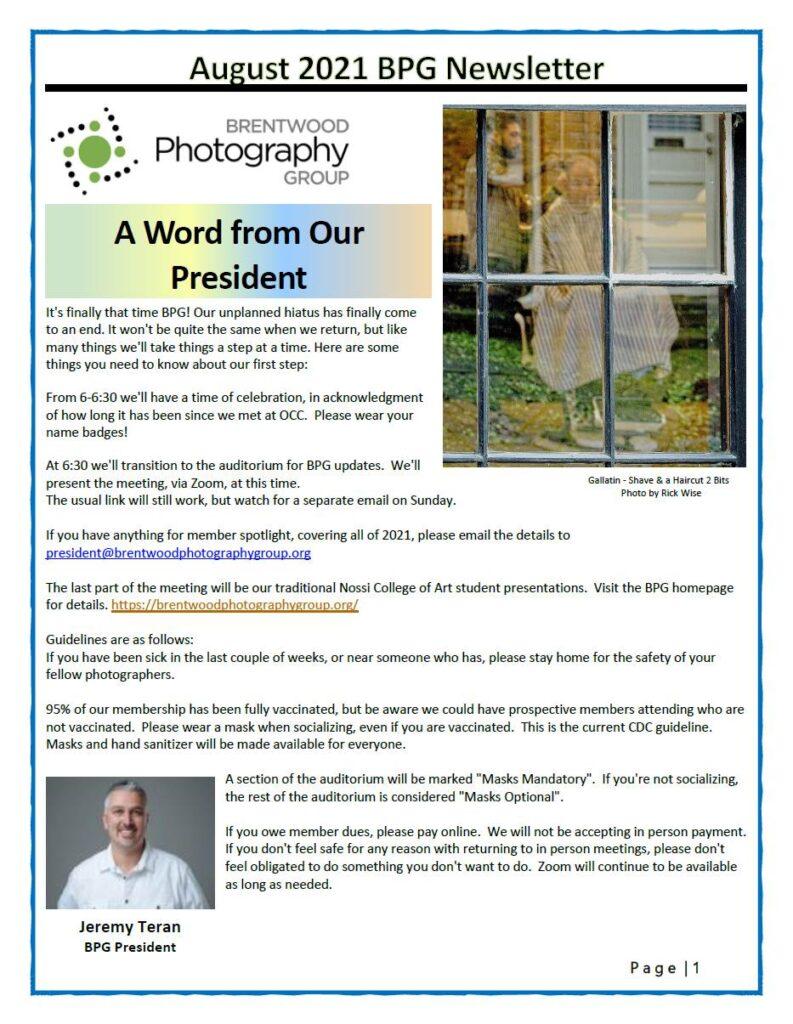 Newsletter 2021 August