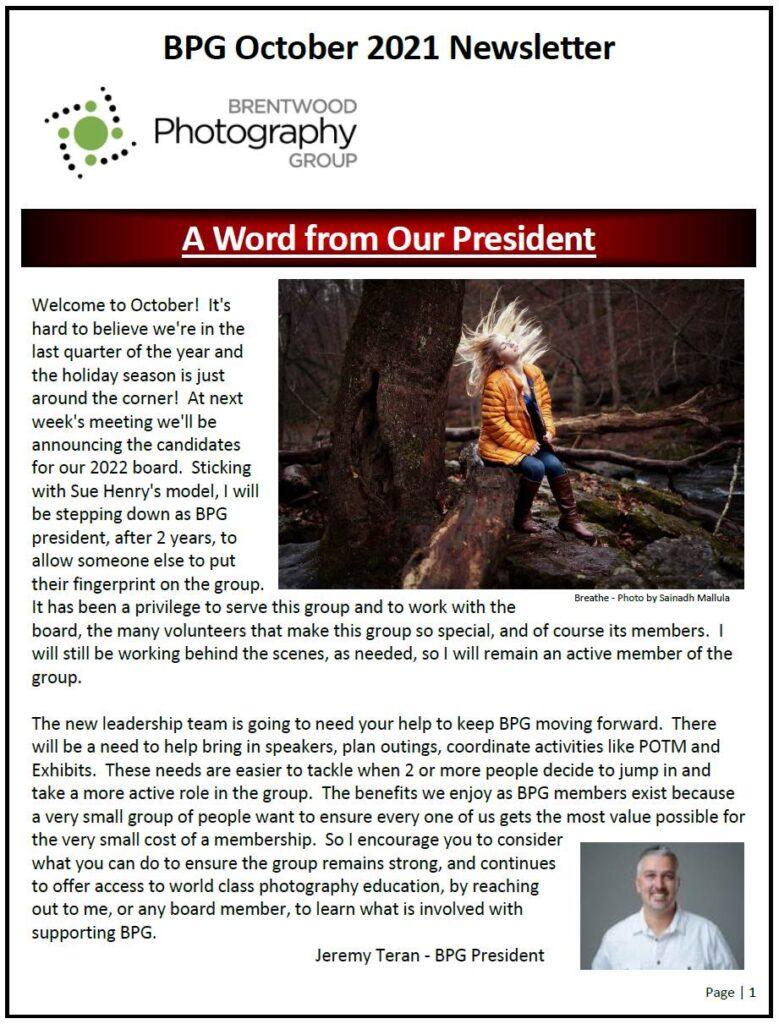Newsletter 2021 October